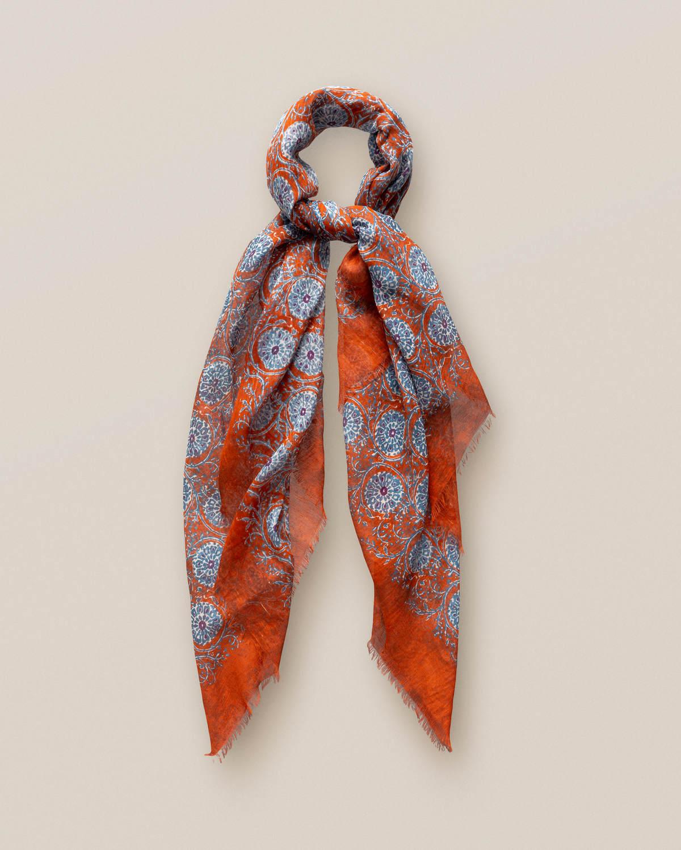 Orange foulardscarf med geometriskt cirkelmönster