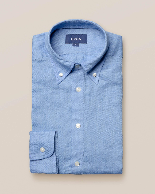 Blå popover-skjorta i finaste linne