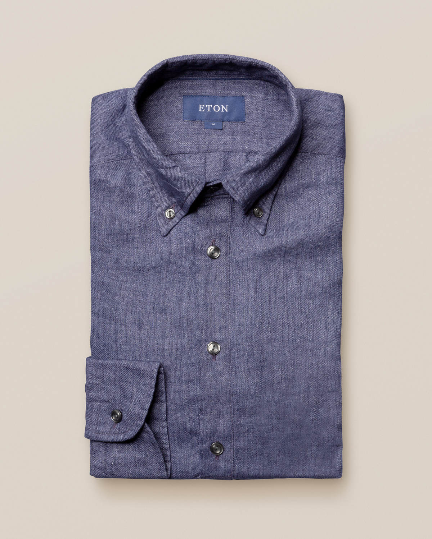 Marinblå popover-skjorta i finaste linne
