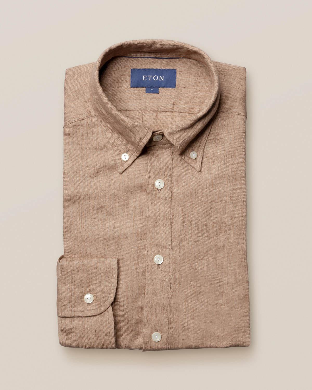 Beige popover-skjorta i finaste linne