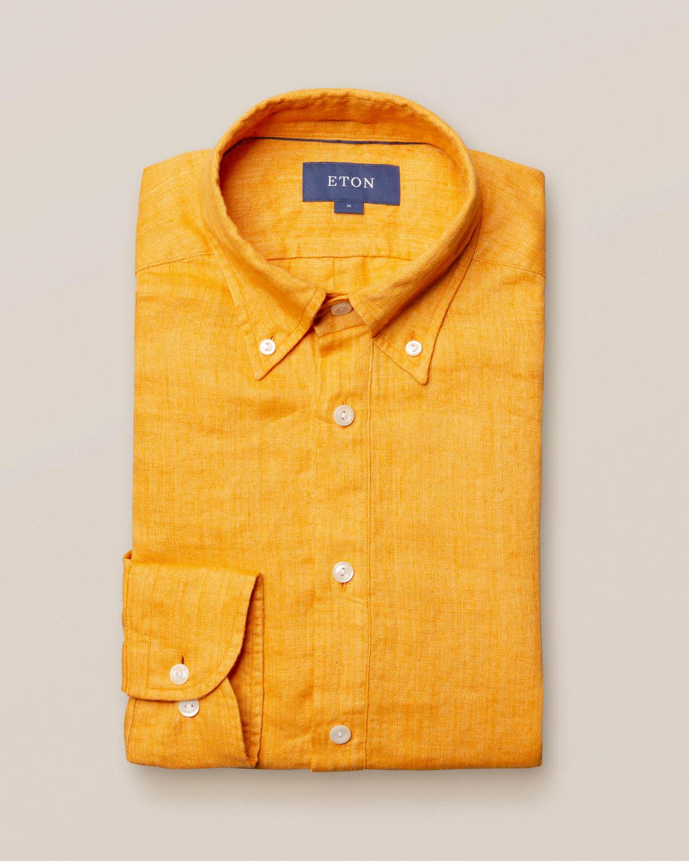 Gul popover-skjorta i finaste linne