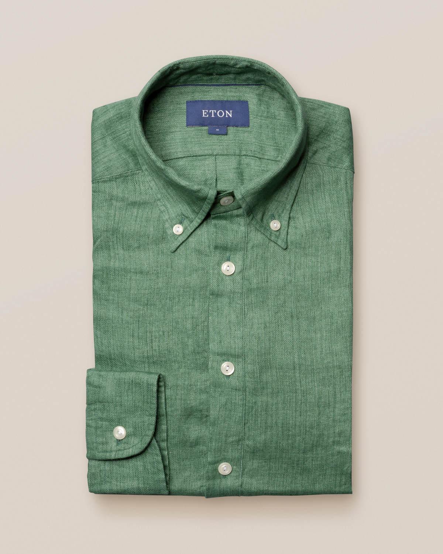 Grön popover-skjorta i finaste linne