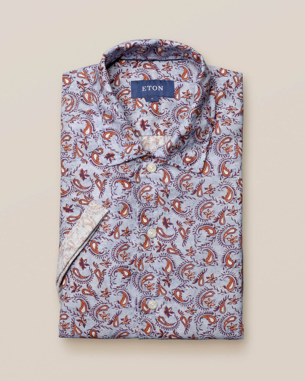 Paisleymönstrad resortskjorta i linne