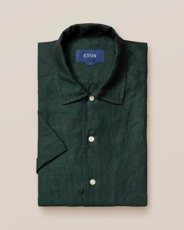 Grön resortskjorta i linne