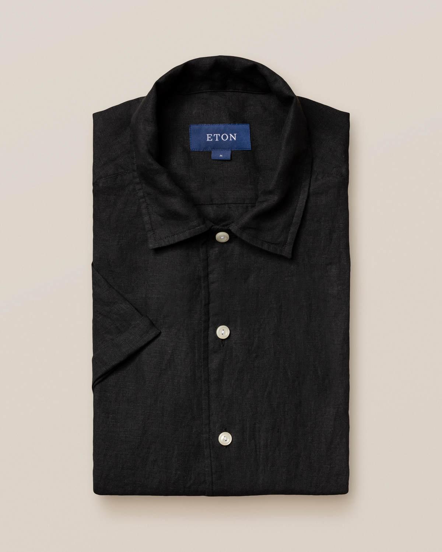 Svart resortskjorta i linne