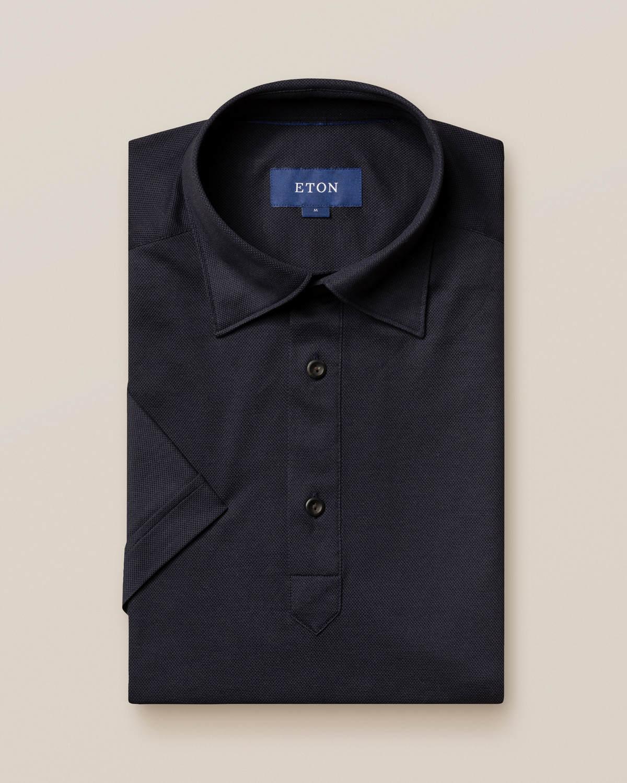 Marinblå pikéskjorta - kortärmad