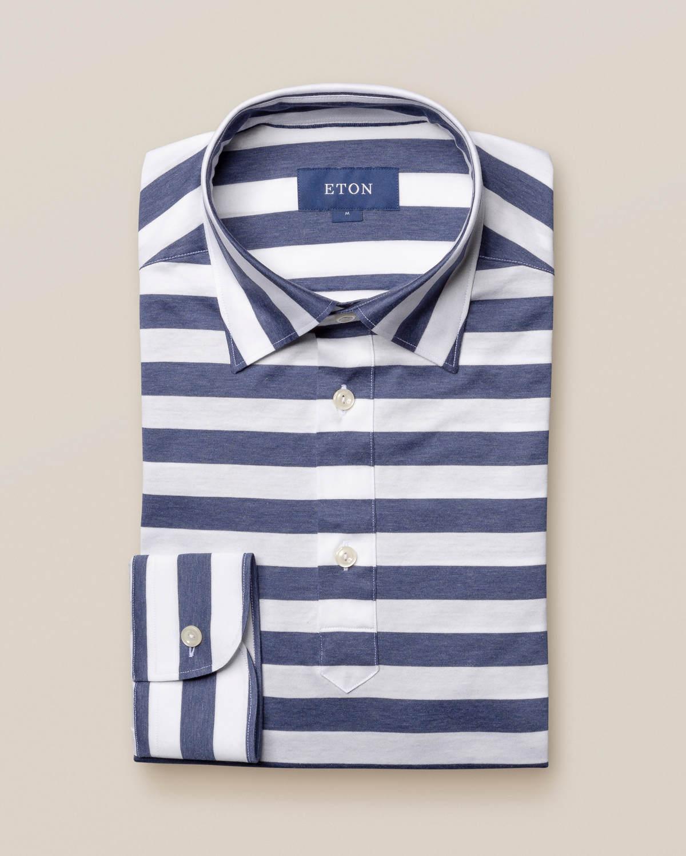Marinblå popover-skjorta i randigt jerseytyg