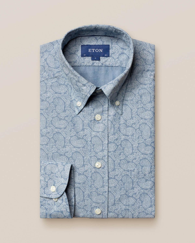 Indigoskjorta med paisleymönster