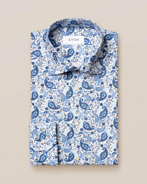 Blå poplinskjorta med paisleymönster
