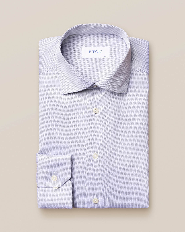 Marinblå skjorta i diamantväv