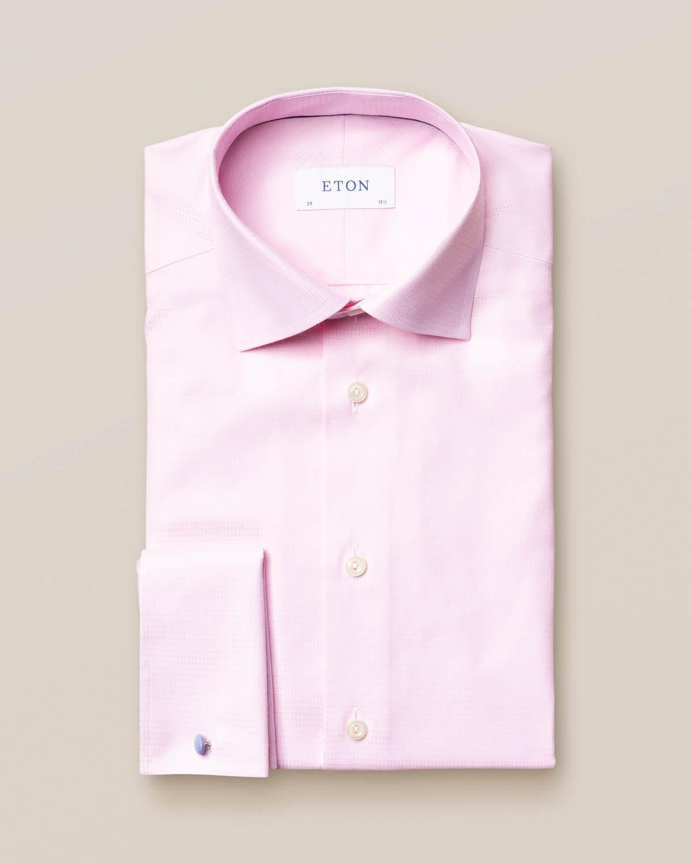 Rosa mikrovävd twillskjorta med dubbel manschett