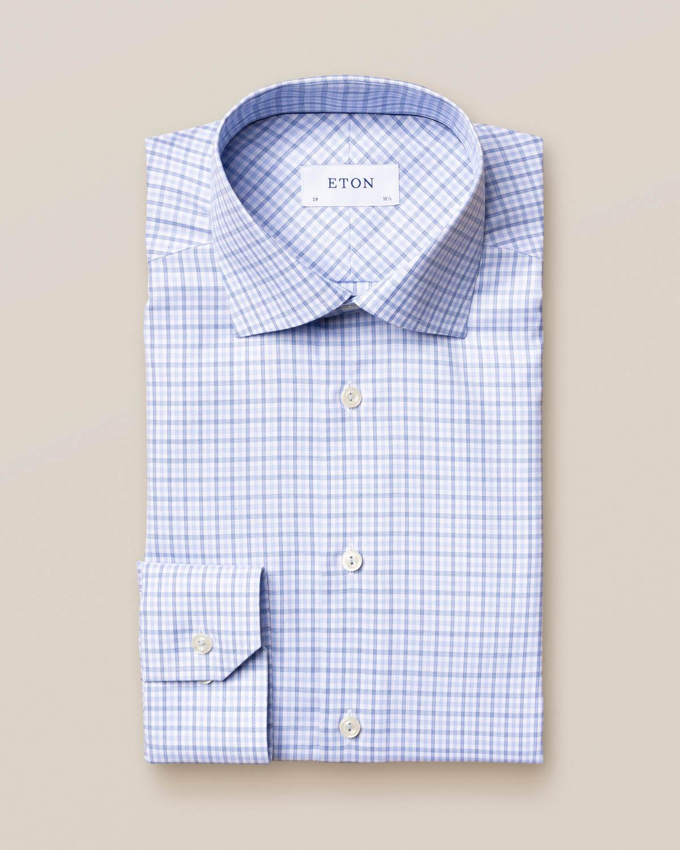 Ljusblå skjorta i bomull-tencel med rutor