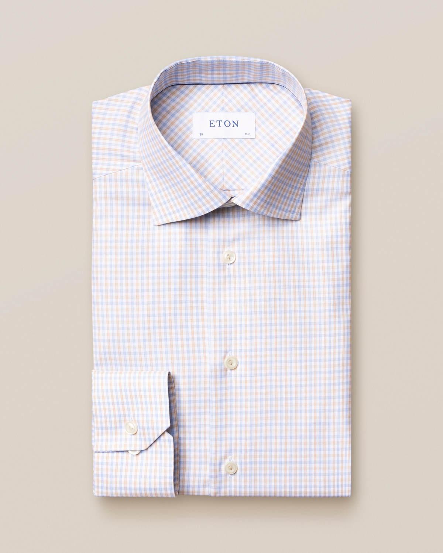 Beige & blå skjorta i bomull-tencel med rutor