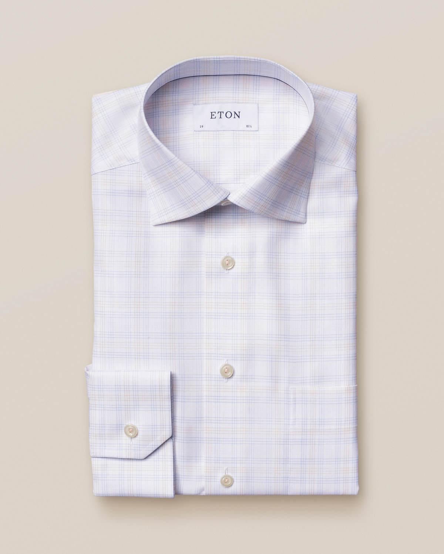 Eton bomull-tencel rutig skjorta