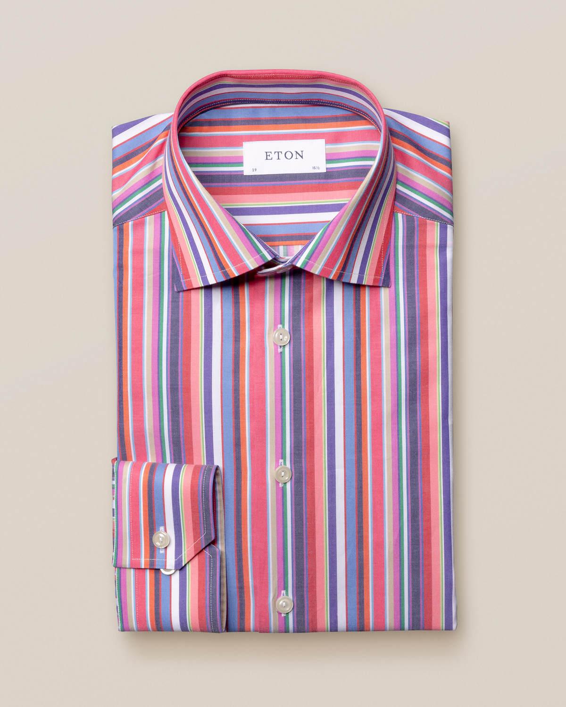 Flerfärgad randig twillskjorta