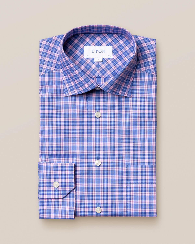 Rosa och blå twillskjorta med rutor