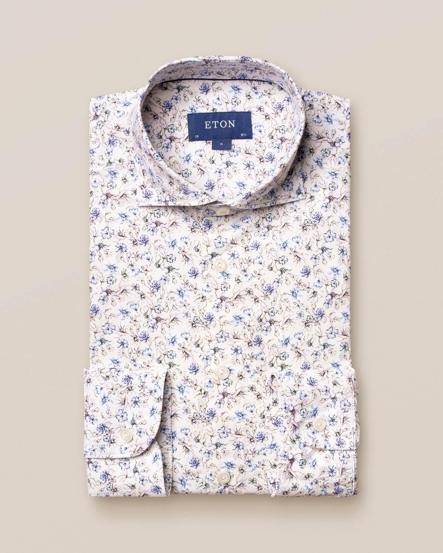 Blå skjorta med blommor – soft