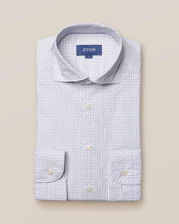 Småmönstrad poplinskjorta med blommor – soft