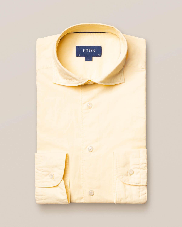 Gul skjorta i bomull och siden – soft