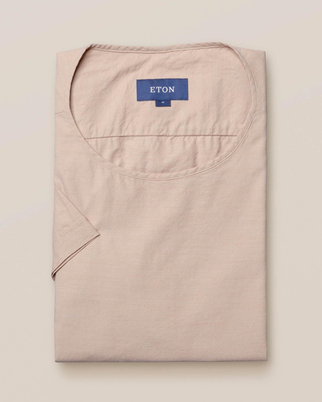 Sandfärgad t-shirt i vävd twill