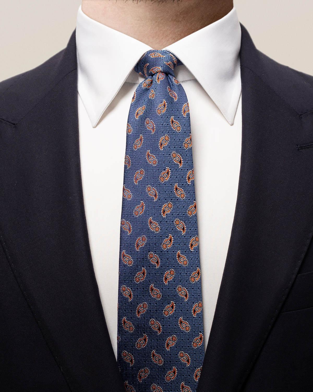 Marinblå och orange paisleymönstrad slips