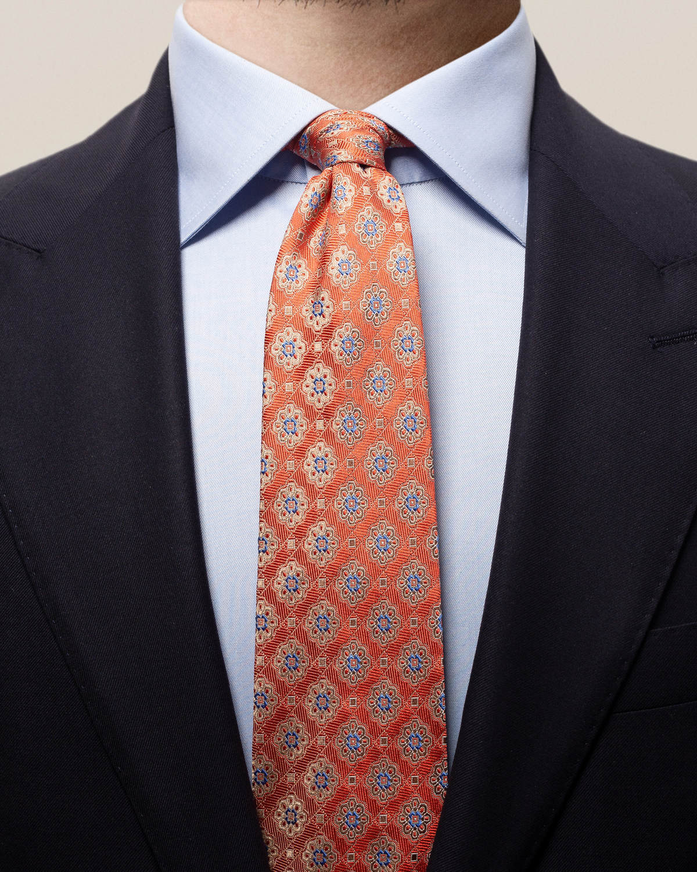 Orange medaljongmönstrad slips med kvadrater