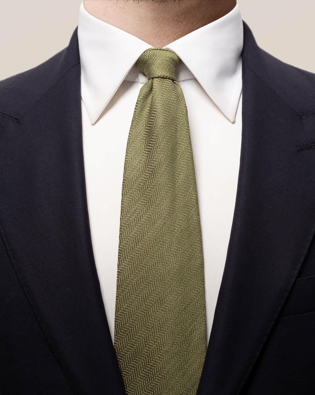 Grön slips i bomull, linne och siden