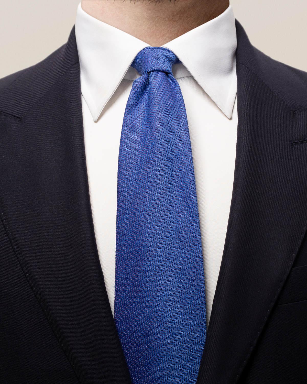 Blå slips i bomull, linne och siden