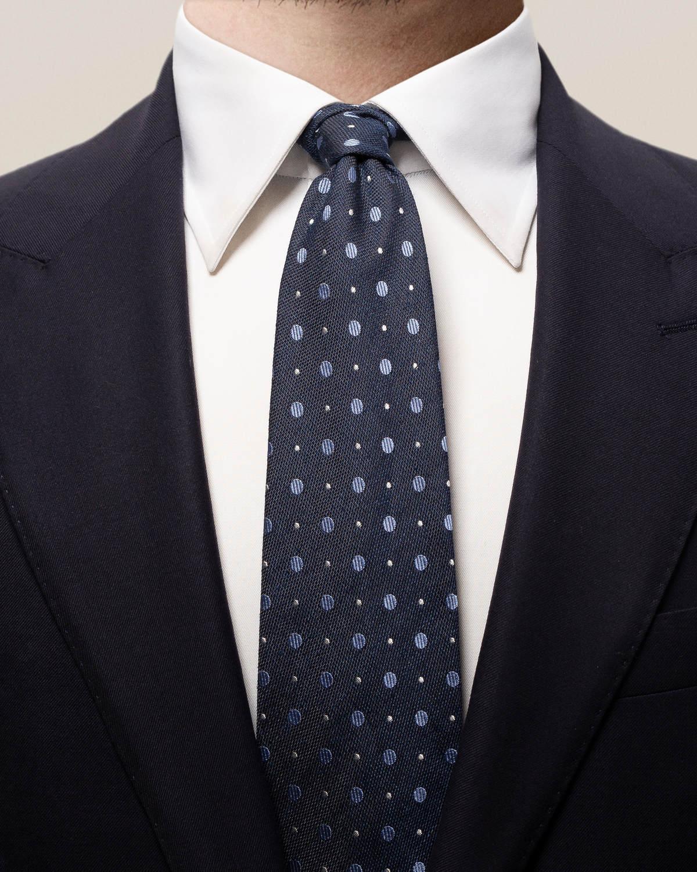 Marinblå prickig siden- och bomullsslips