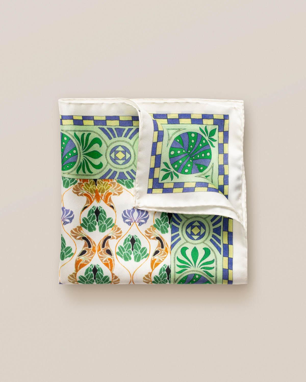 Grön art deco-mönstrad näsduk med blommor