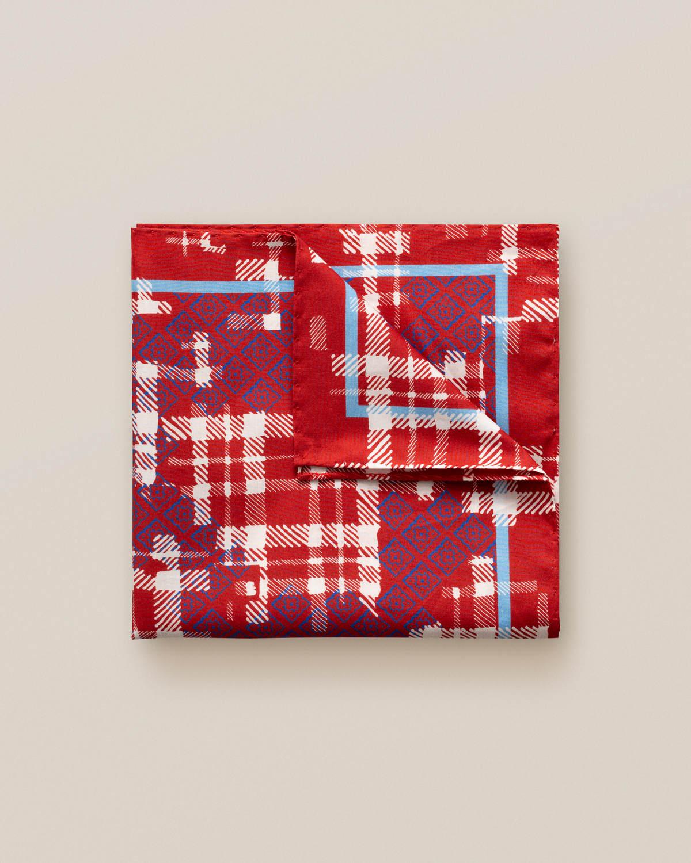 Röd näsduk med tweedmönster