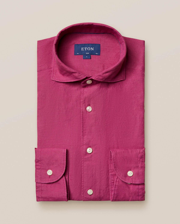 Vinröd linneskjorta - soft