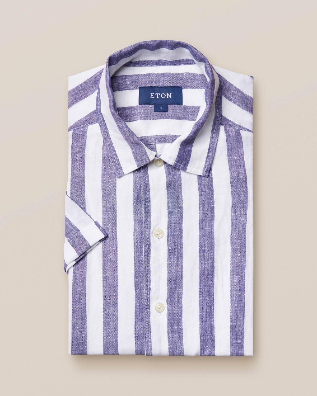 Blå randig linneskjorta