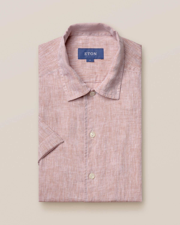 Beige resortskjorta i linne – kortärmad