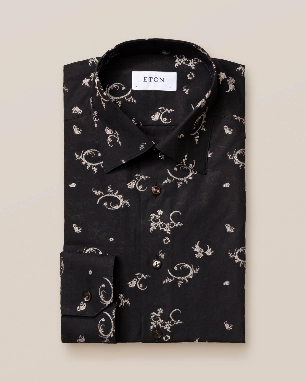 Smokingskjorta av fil coupé-väv i svart och guld