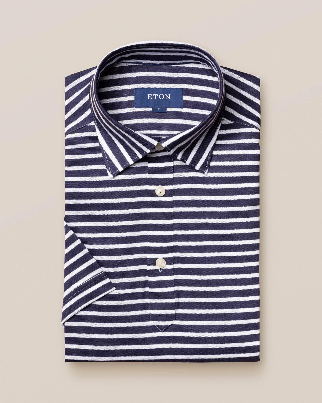 Blå randig poloskjorta i bomulls- och linnepiké –