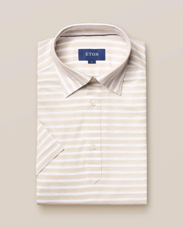 Off-white randig poloskjorta i bomulls- och linnep