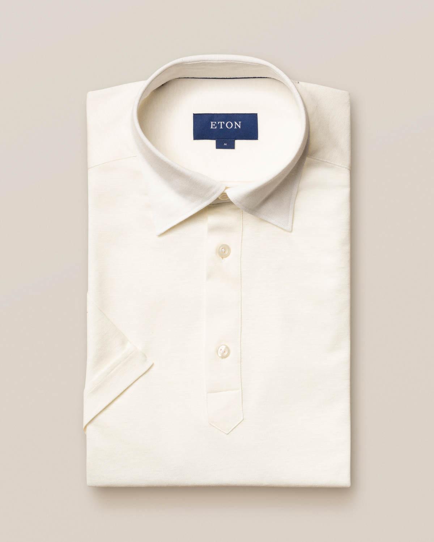 Vit poloskjorta i bomulls- och linnepiké - kortärm