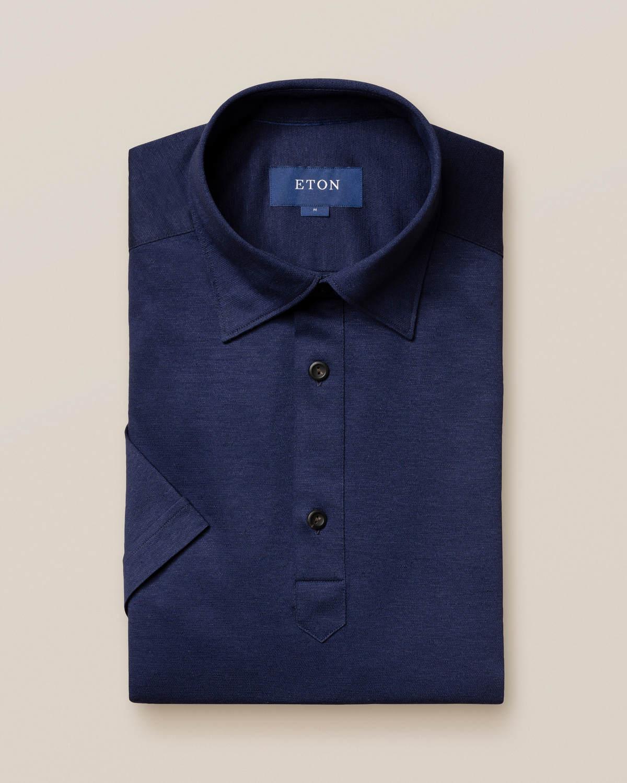 Mörkblå poloskjorta i bomulls- och linnepiké - kortärmad