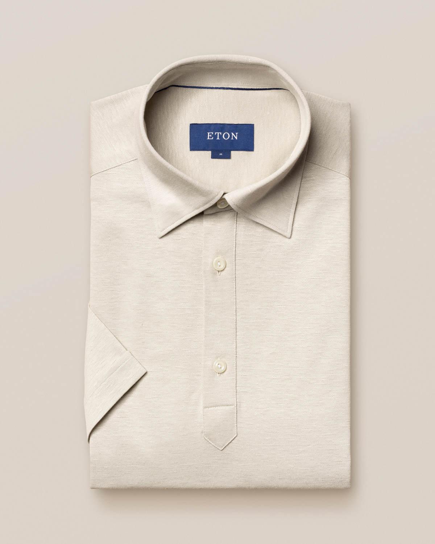 Beige poloskjorta i bomulls- och linnepiké - kortärmad