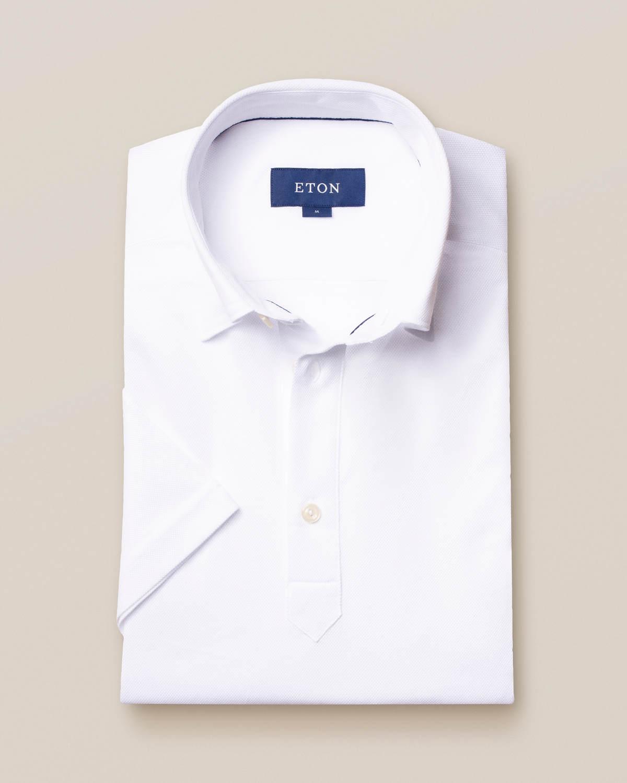 Vit pikéskjorta - kortärmad