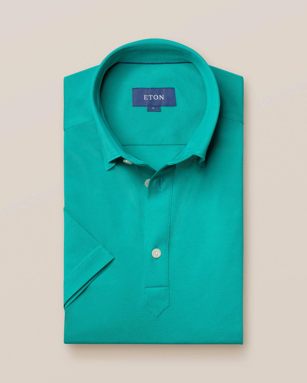 Jadegrön pikéskjorta - kortärmad