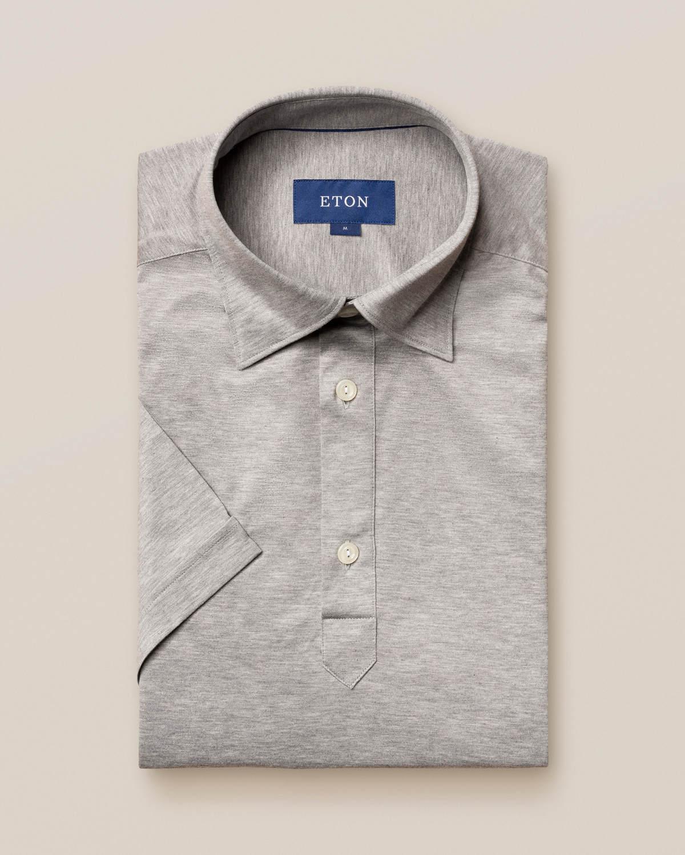 Ljusgrå popover jerseyskjorta - kortärmad