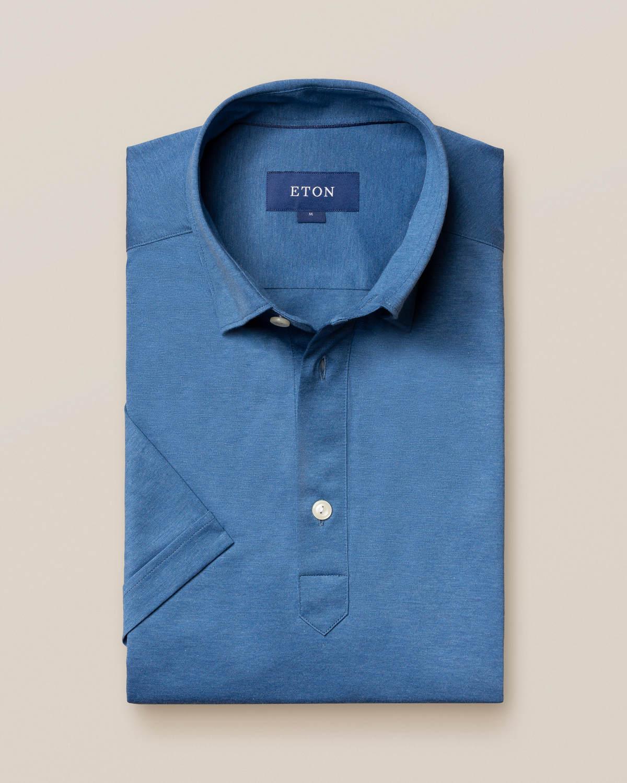 Blå popover jerseyskjorta - kortärmad