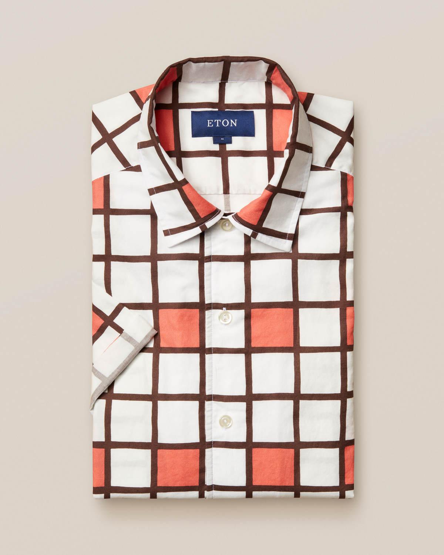 Korall resortskjorta med blockmönster
