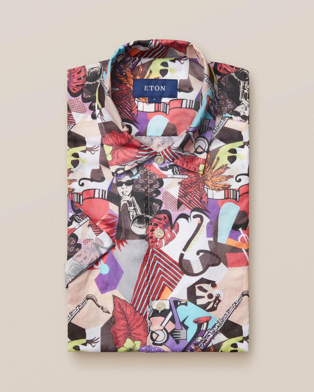 Poplinskjorta med jazzprint