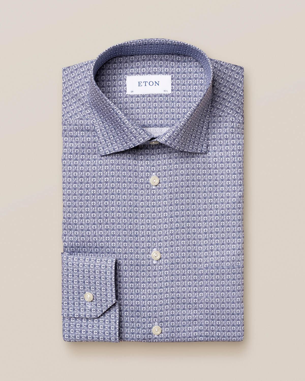 Poplinskjorta med art deco-inspirerat logotypmönst