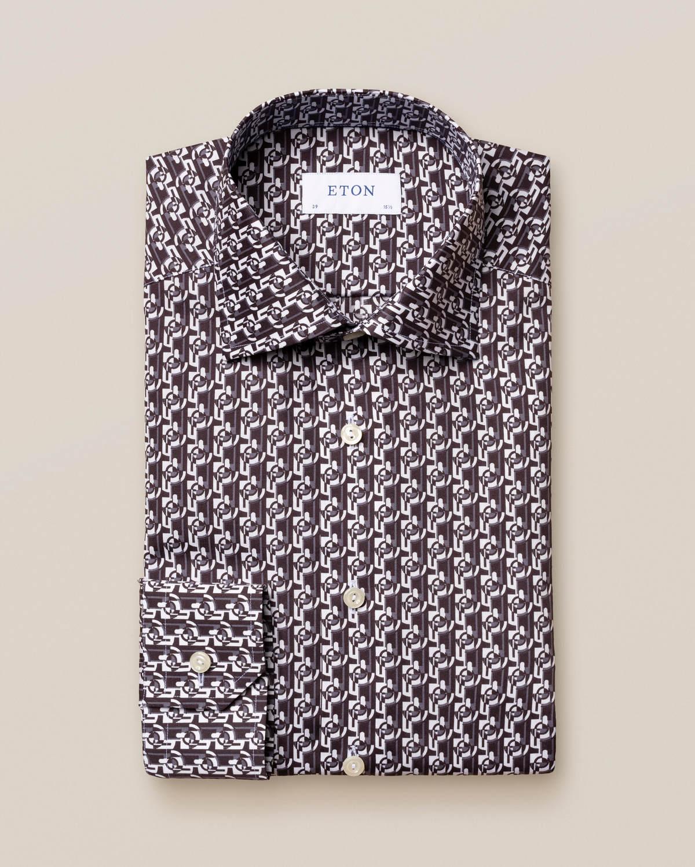 Poplinskjorta med geometriskt art deco-mönster
