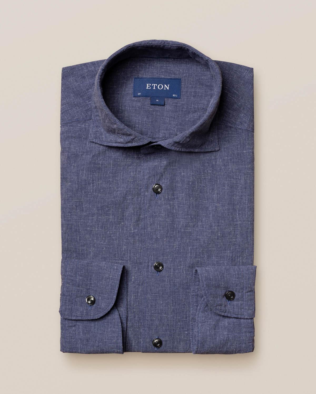 Blå skjorta i bomull och linne - soft