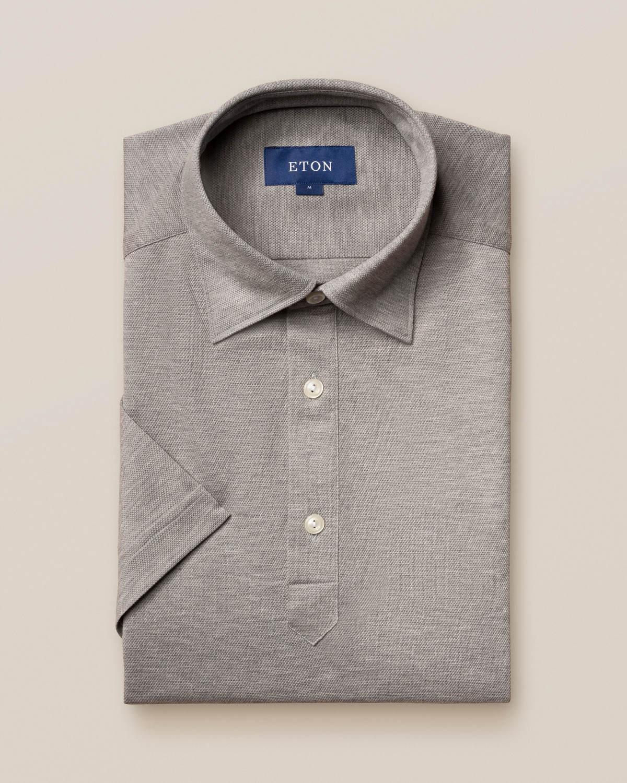 Ljusgrå pikéskjorta - kortärmad